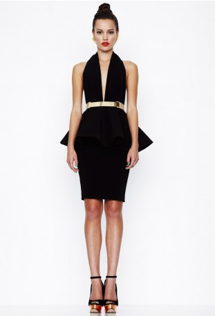 Get The Look: Yvonne Nelson's Aqua Louise Halterneck Peplum Pencil Dress