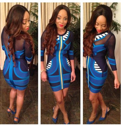 Hot or Not: Toke Makinwa's Herve Leger Blue Gauze Bandage Dress & River Island Shoes
