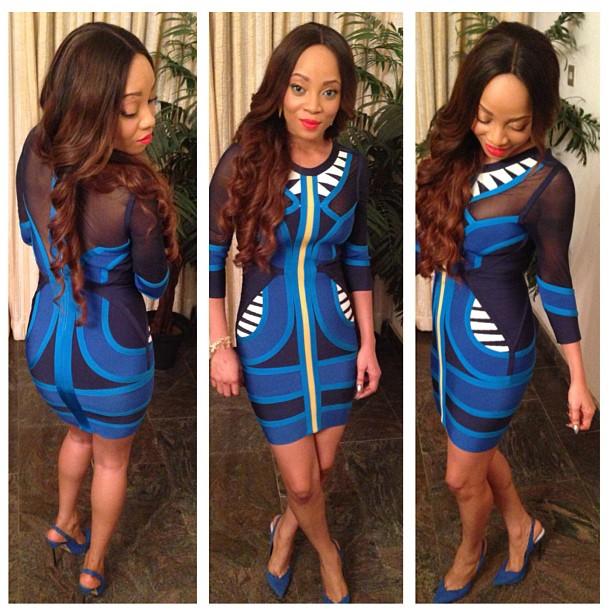 Hot or Not: Toke Makinwa's Herve Leger Blue Gauze Bandage Dress & River Island Shoes