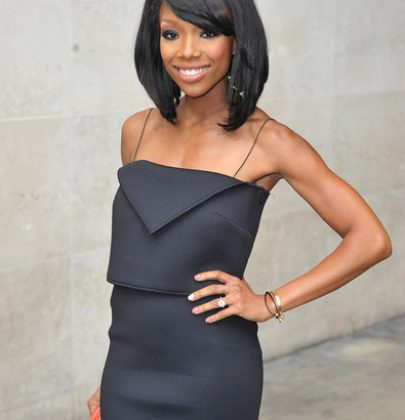 Hot or Not: Brandy's Little Black Camisole Dress and Orange Céline Tote at 1XTRA BBC Radio London