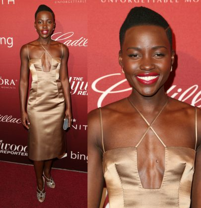 Hot or Not: Lupita'a Nyongo'o in Valentino Fall 2013 Metallic Slip Dress At The Hollywood Reporter's Annual Nominees Night Party