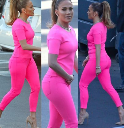 Hot or Not: Jennifer Lopez At American Idol Taping in Hot Wildflower Pink Jeans and J Brand Neoprene Matching Top