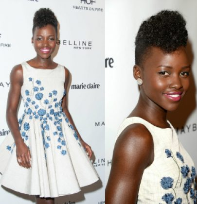 Sizzling Sightings: Lupita Nyongo in Giambattista Valli Floral Skater Dress at Marie Claire's Cover Stars Party