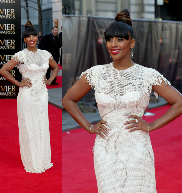 Hot or Meh: Alexandra Burke In White Sequin Gown At The 2014 Laurence Olivier Awards