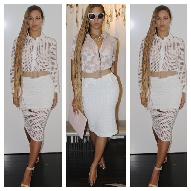 Look For Less: Beyonce's Rare London White Laser Cut Shirt and White Chiffon Skirt
