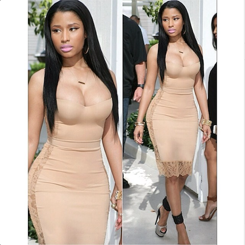 Hot or Meh: Nicki Minaj's Nude La Perla Shape Dress at Las Vegas Pool Bash