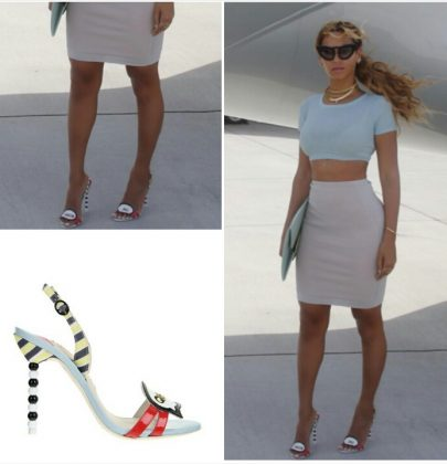 Steal Her Look: Beyonce's Topshop Rib Crop Tee and Sophia Webster 'Queen Bee' Ball Heels