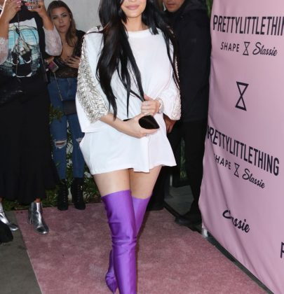 Steal Her Style: Kylie Jenner in Purple Balenciaga Knife Over The Knee Boots