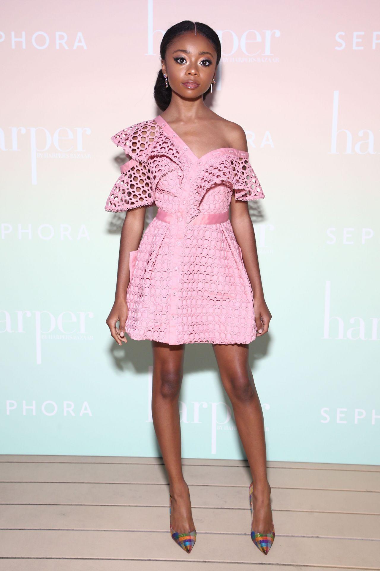 Steal Her Style: Skai Jackson in Self-Portrait Pink Lace Frill Mini Dress – Harper's Bazaar Party in LA