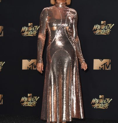 Taraji P. Henson in Emilio Pucci Fall 2017 Gold Sequin Dress – 2017 MTV Movie & TV Awards