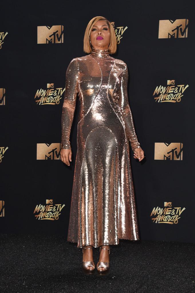 Taraji P. Henson in Emilio Pucci Fall 2017 Gold Sequin Dress – 2017 MTV Movie & TV Awards