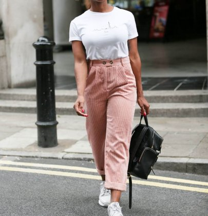 Steal Her Style: Alexandra Burke's Topshop Corduroy Blush Peg Trousers